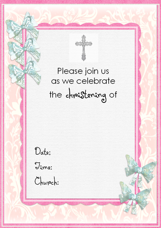 Free Printable Baby Boy Baptism Invitations