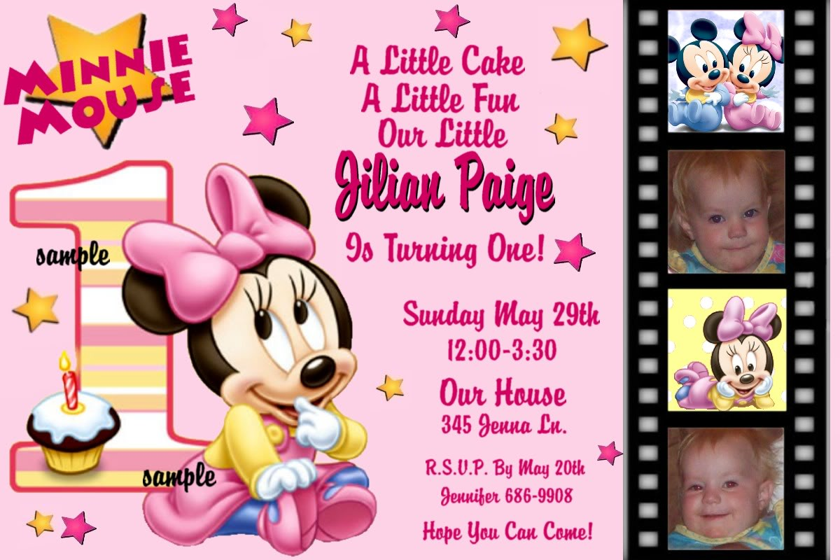 Free Printable Baby Minnie Mouse Birthday Invitations
