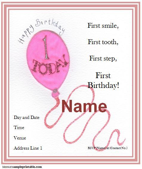 Free Printable Birthday Invitations For First Birthday