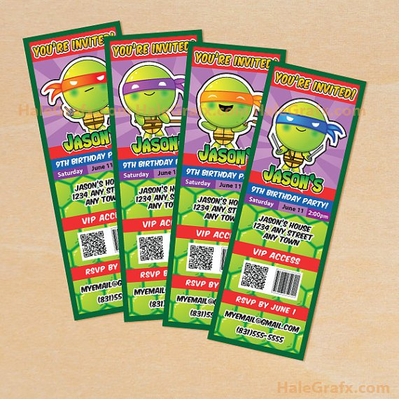 Free Printable Birthday Invitations Teenage Mutant Ninja Turtles