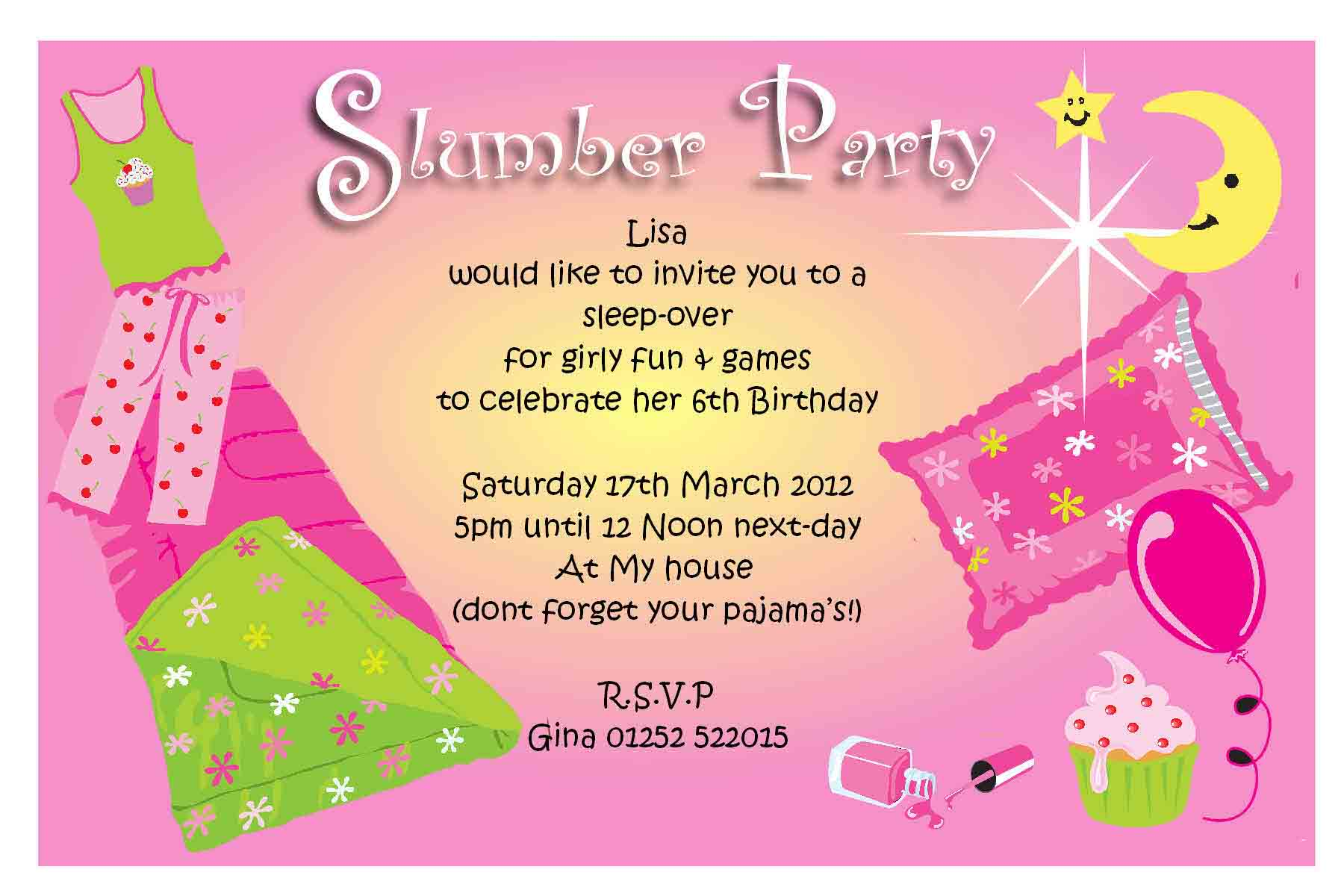 Free Printable Birthday Sleepover Invitation Templates