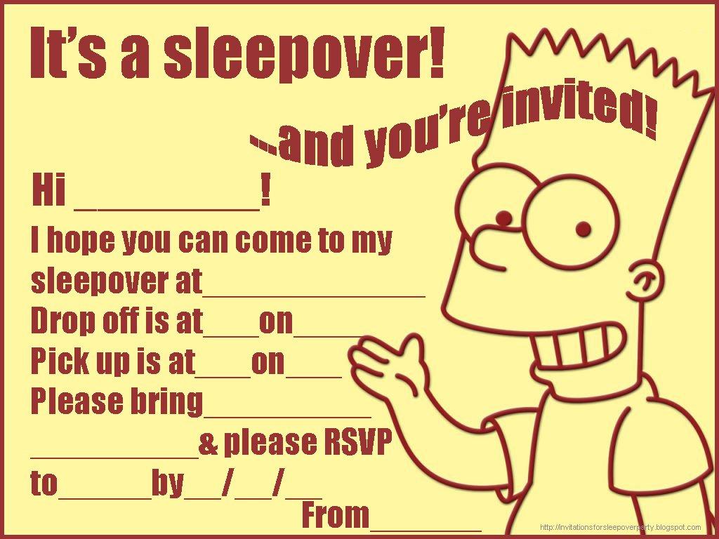 Free Printable Birthday Sleepover Invitations For Boys