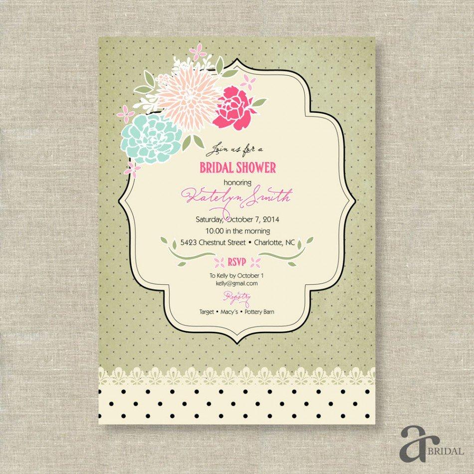 Free Printable Bridal Shower Invitations Vintage