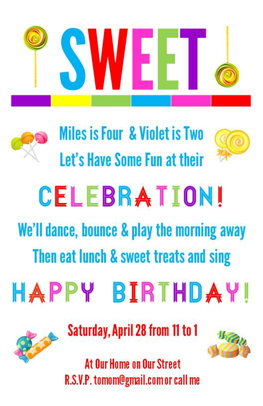 Free Printable Candy Birthday Party Invitations