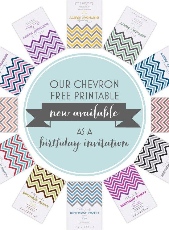 Free Printable Chevron Birthday Invitations