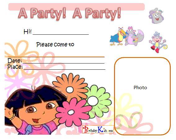 Free Printable Dora The Explorer Birthday Party Invitations – Dora the Explorer Birthday Invitations
