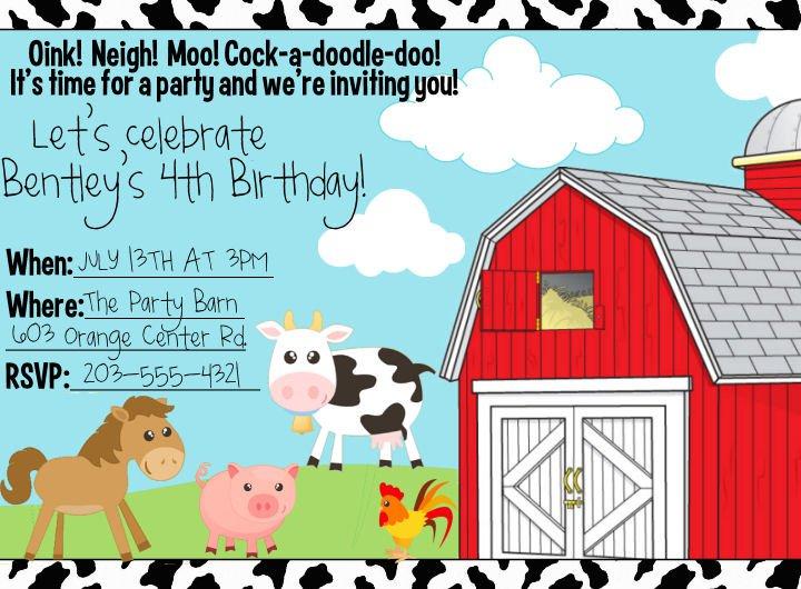 Free Printable Farm Animal Birthday Invitations