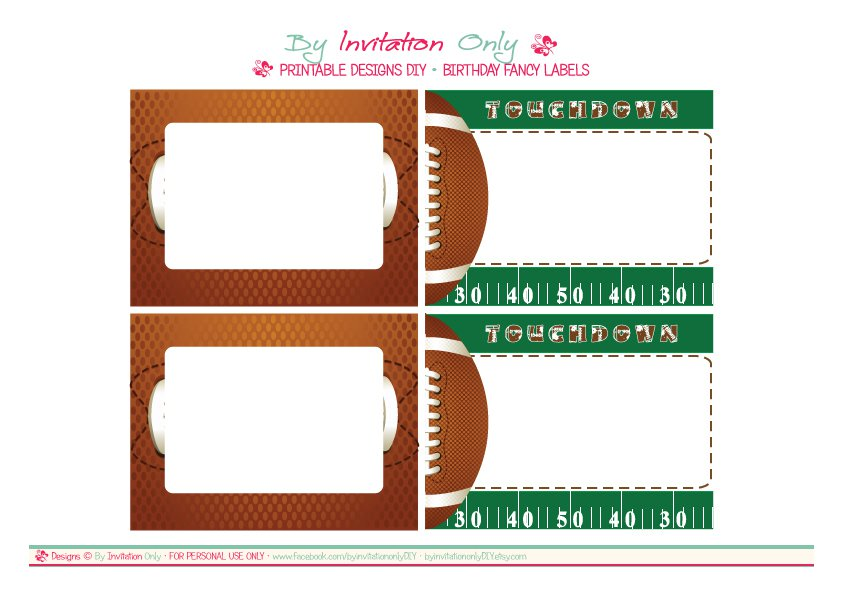 Free Printable Football Birthday Invitation Cards