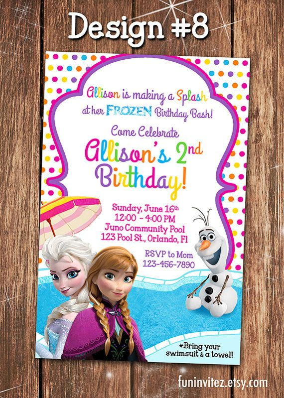 Free Printable Frozen Pool Party Invitations