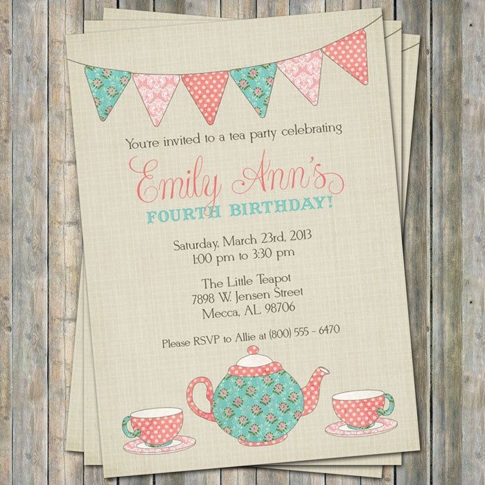 Free Printable Girls Tea Party Invitations