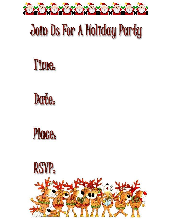 Free Printable Holiday Invitation Cards