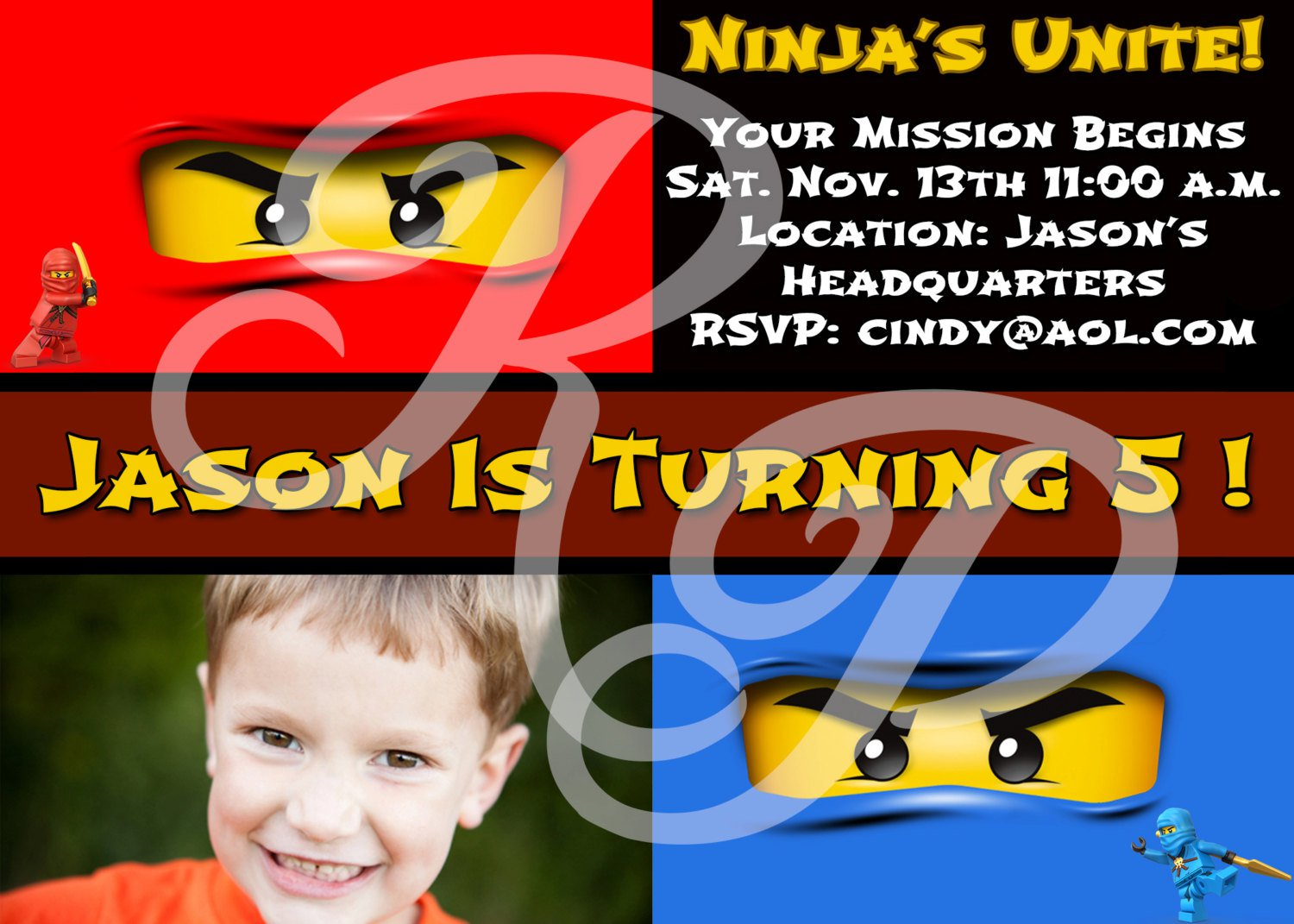 Lego Ninjago Party Invitations – Ninjago Party Invitations