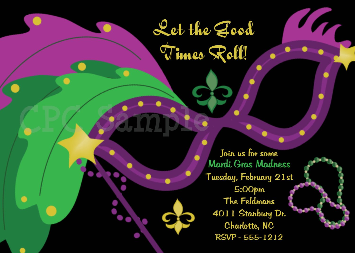 Free Printable Mardi Gras Party Invitations