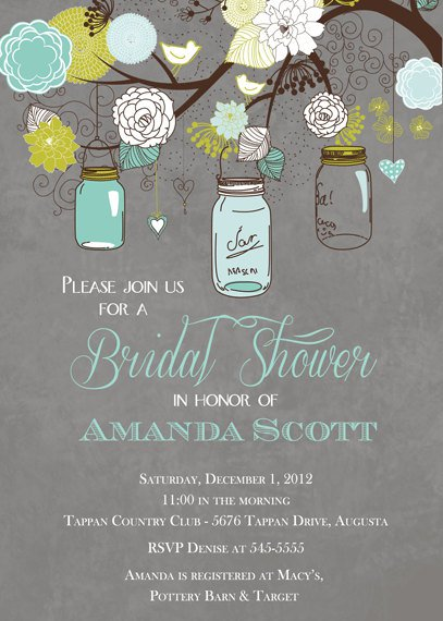 Printable Mason Jar Bridal Shower Invitations