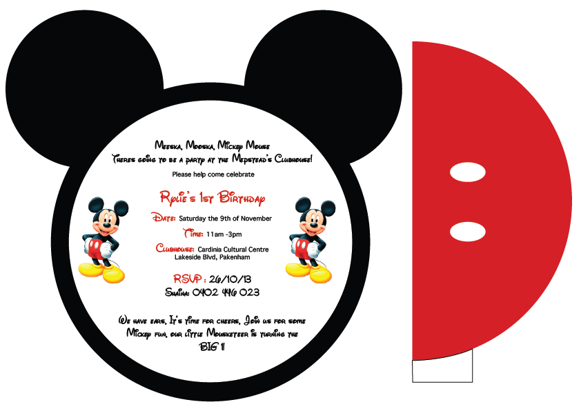 Free Printable Mickey Mouse Invitation Cards