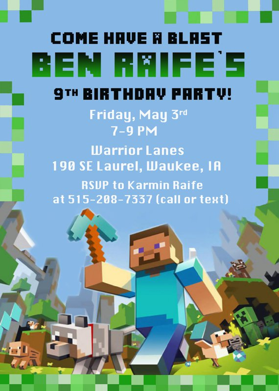 Free Printable Minecraft Birthday Party Invitations Templates