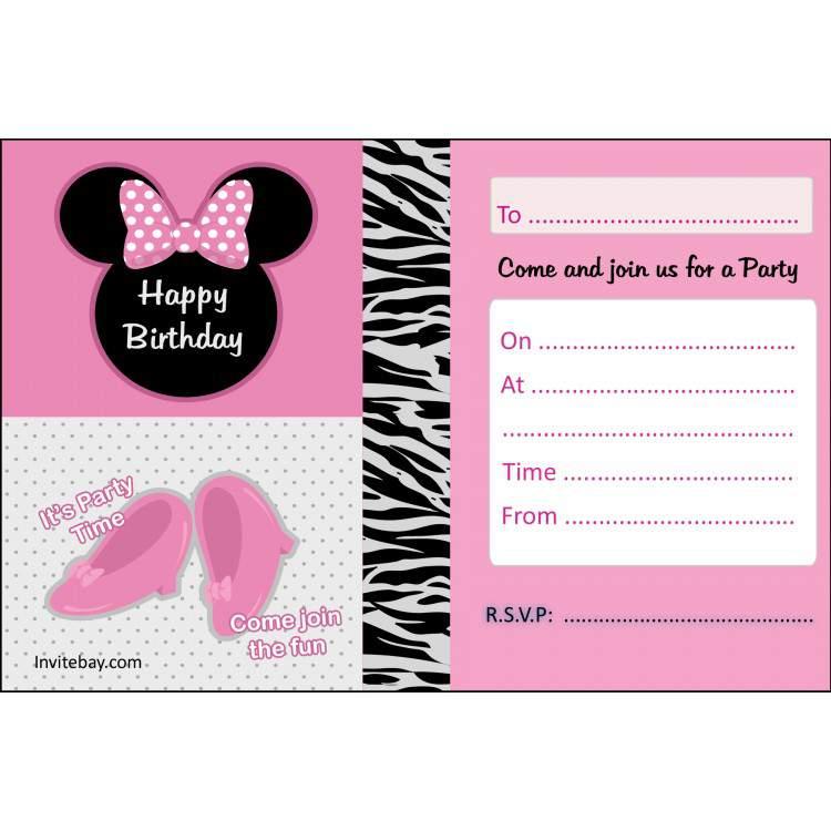 Free Printable Minnie Mouse Birthday Invitation Templates