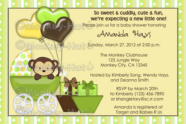 Free Printable Monkey Baby Shower Invitation Templates