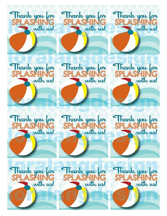 Free Printable Pool Party Favor Tags