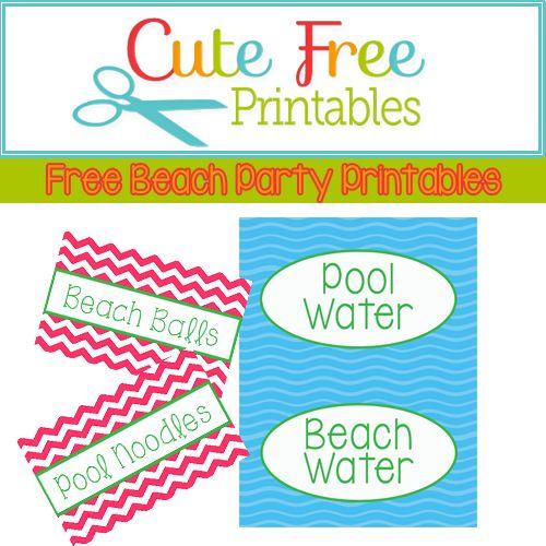 Free Printable Pool Party Food Labels