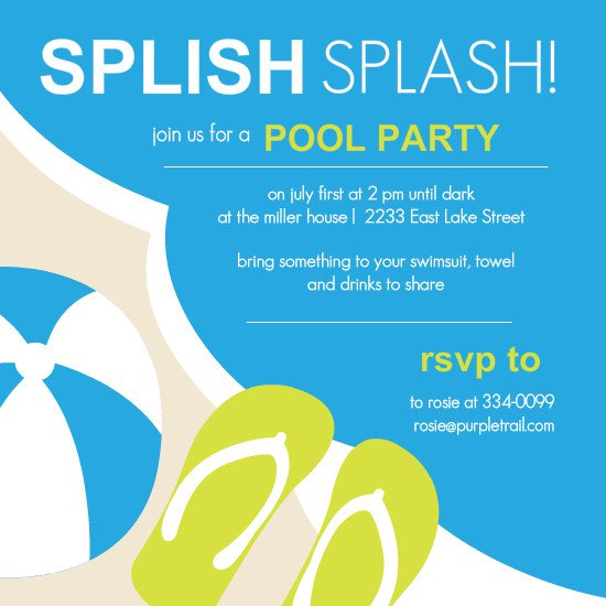 Free Printable Pool Party Templates – Swimming Party Invitation Template