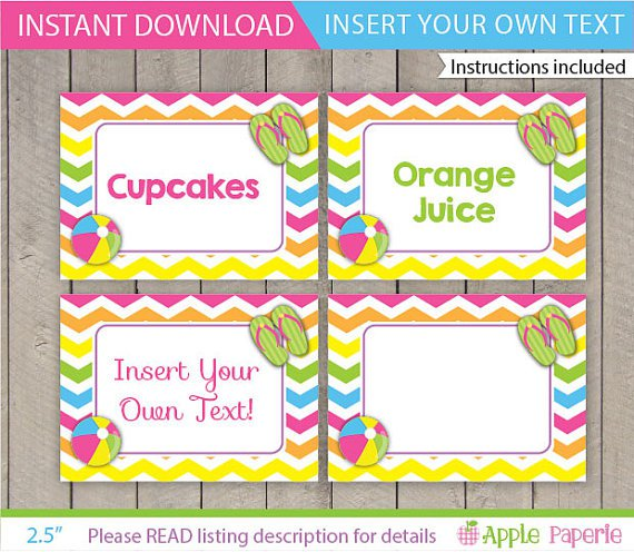 Free Printable Pool Party Labels