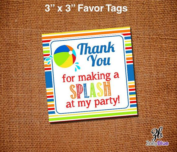 Free Printable Pool Party Tags