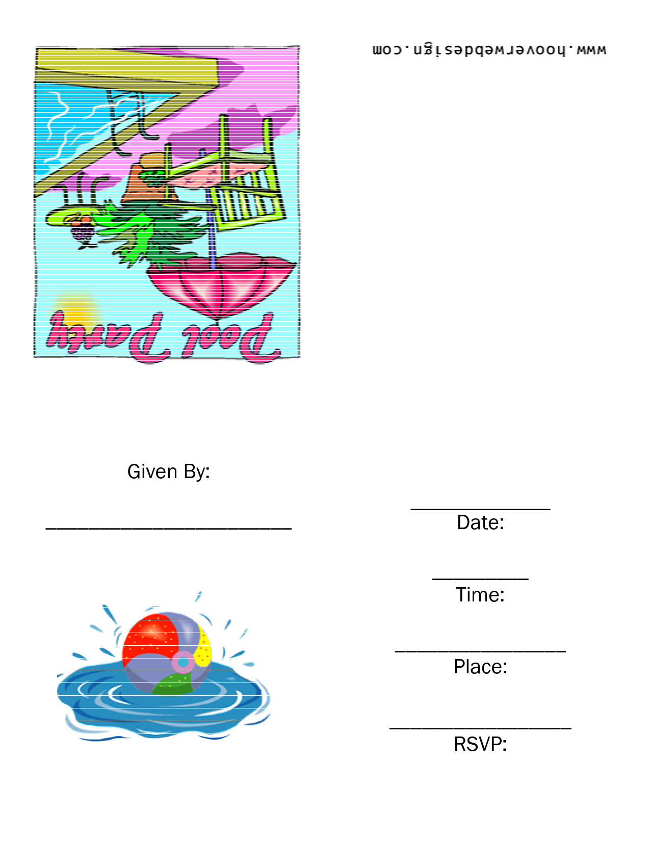Printable Pool Party Templates – Free Printable Pool Party Birthday Invitations