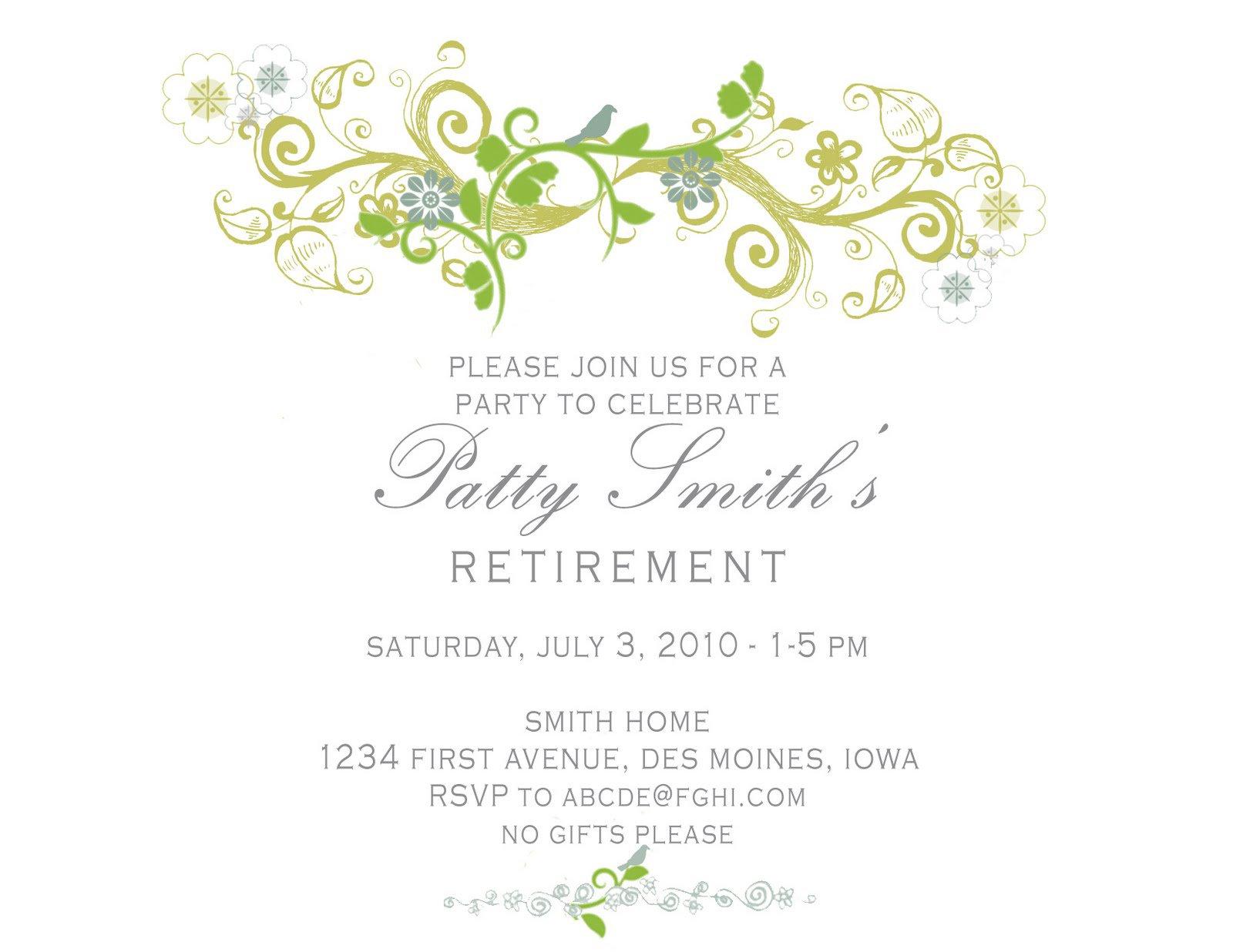Free Printable Retirement Invitations Cards