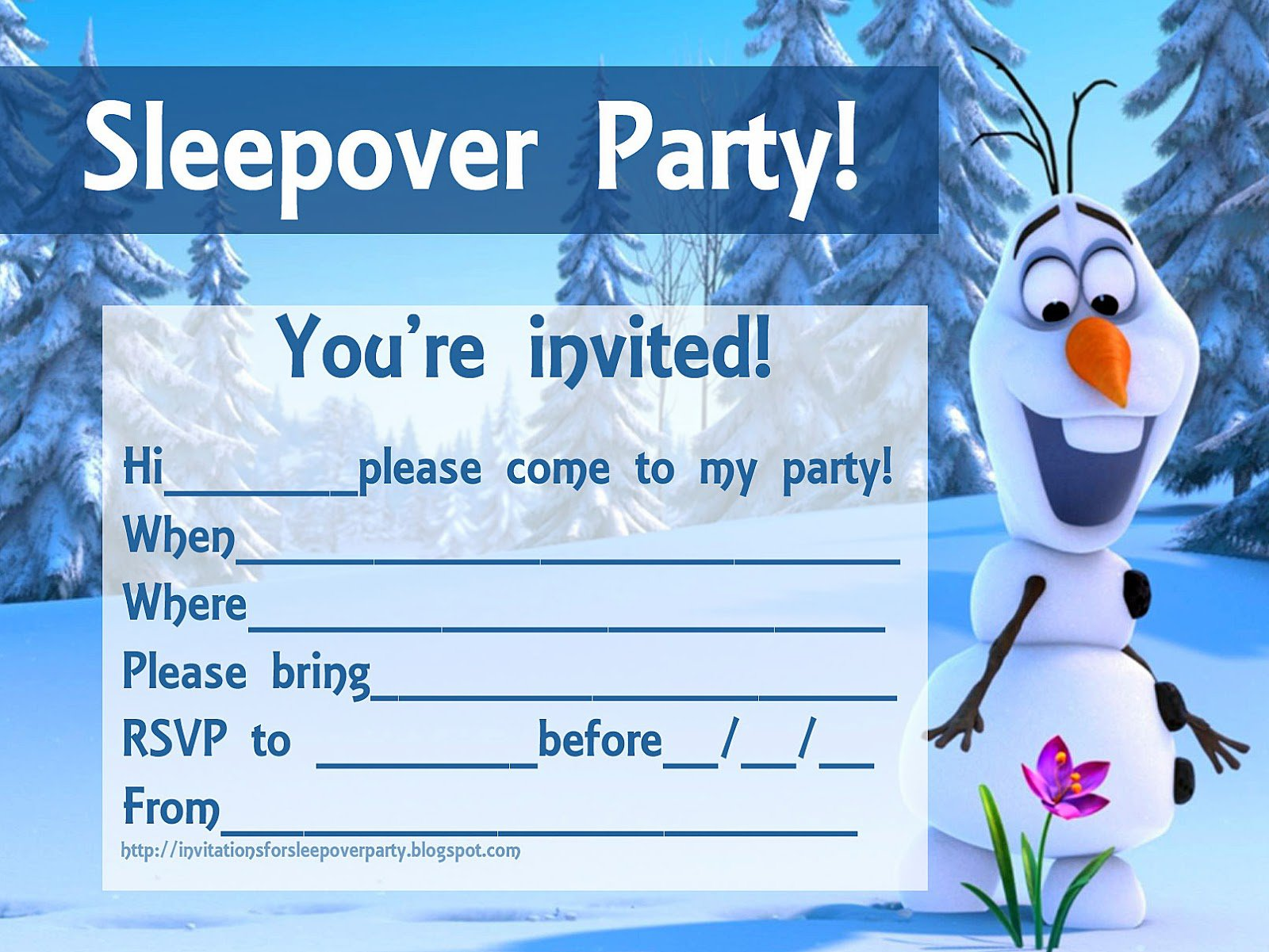Free Printable Sleepover Invitation Cards