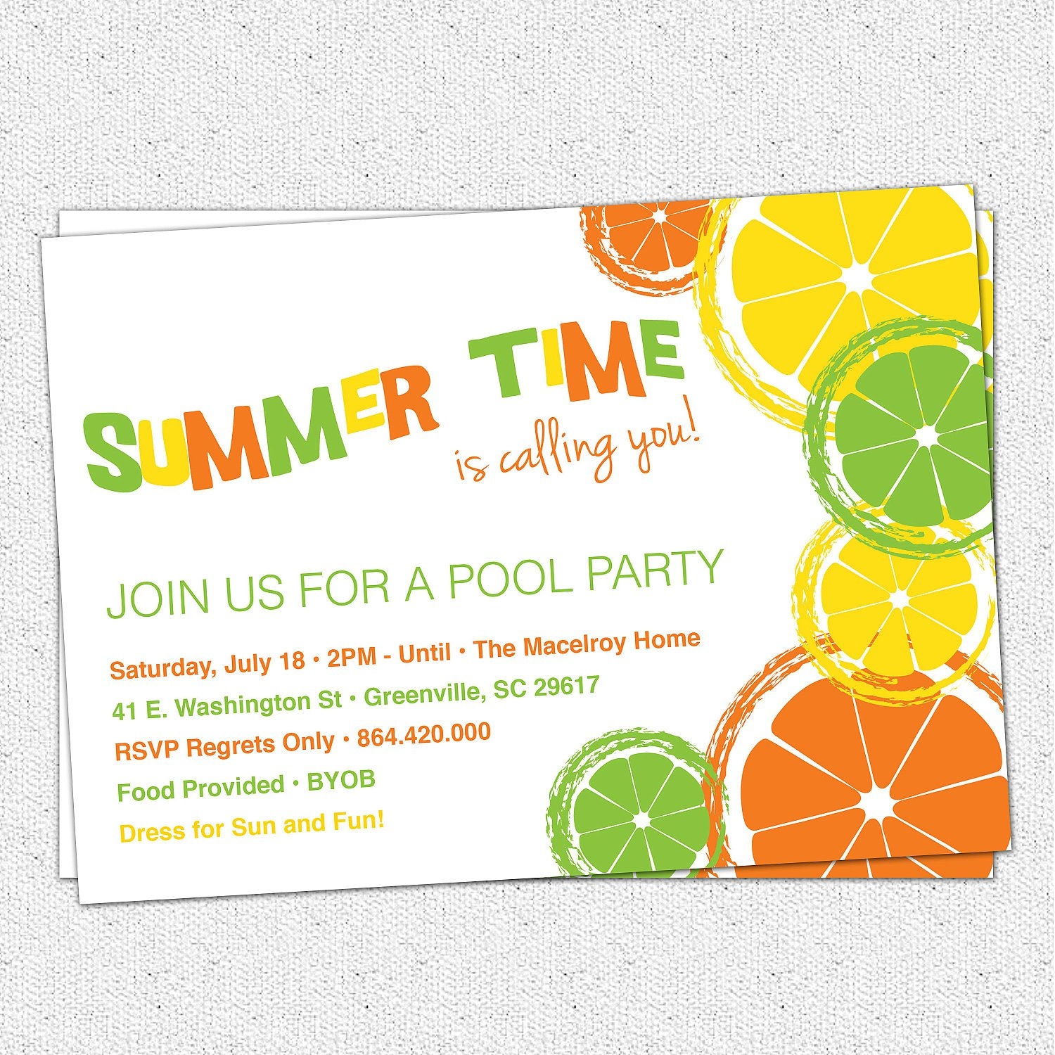 Free Printable Summer Pool Party Invitations