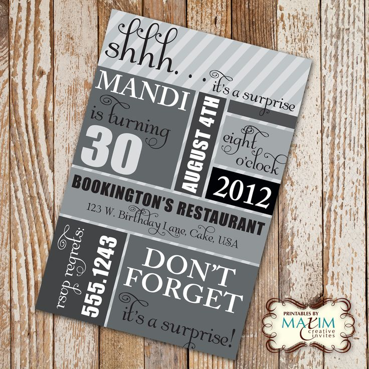Free Printable Surprise 30th Birthday Party Invitations