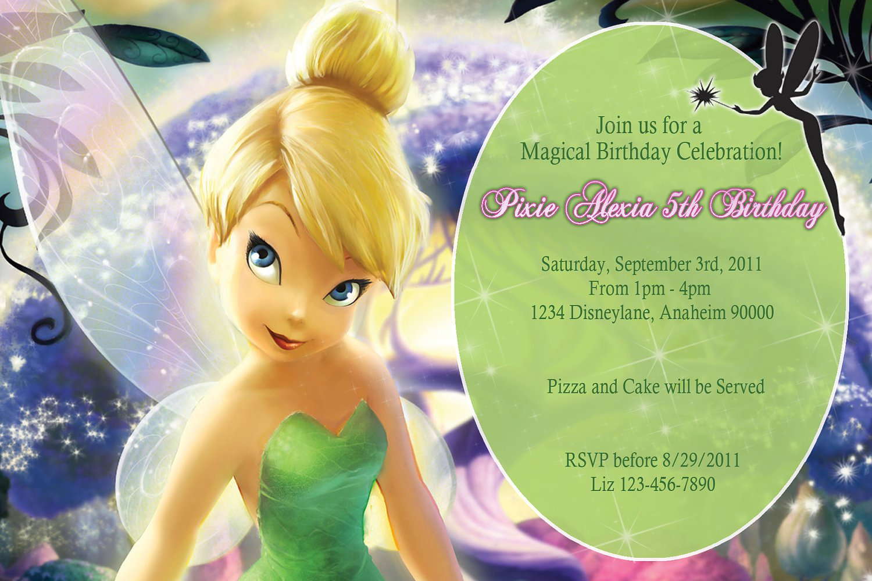 Free Printable Tinkerbell 1st Birthday Invitations