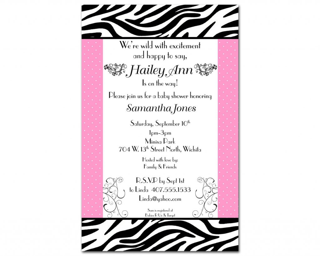 Free Zebra Print Baby Shower Invitation Templates