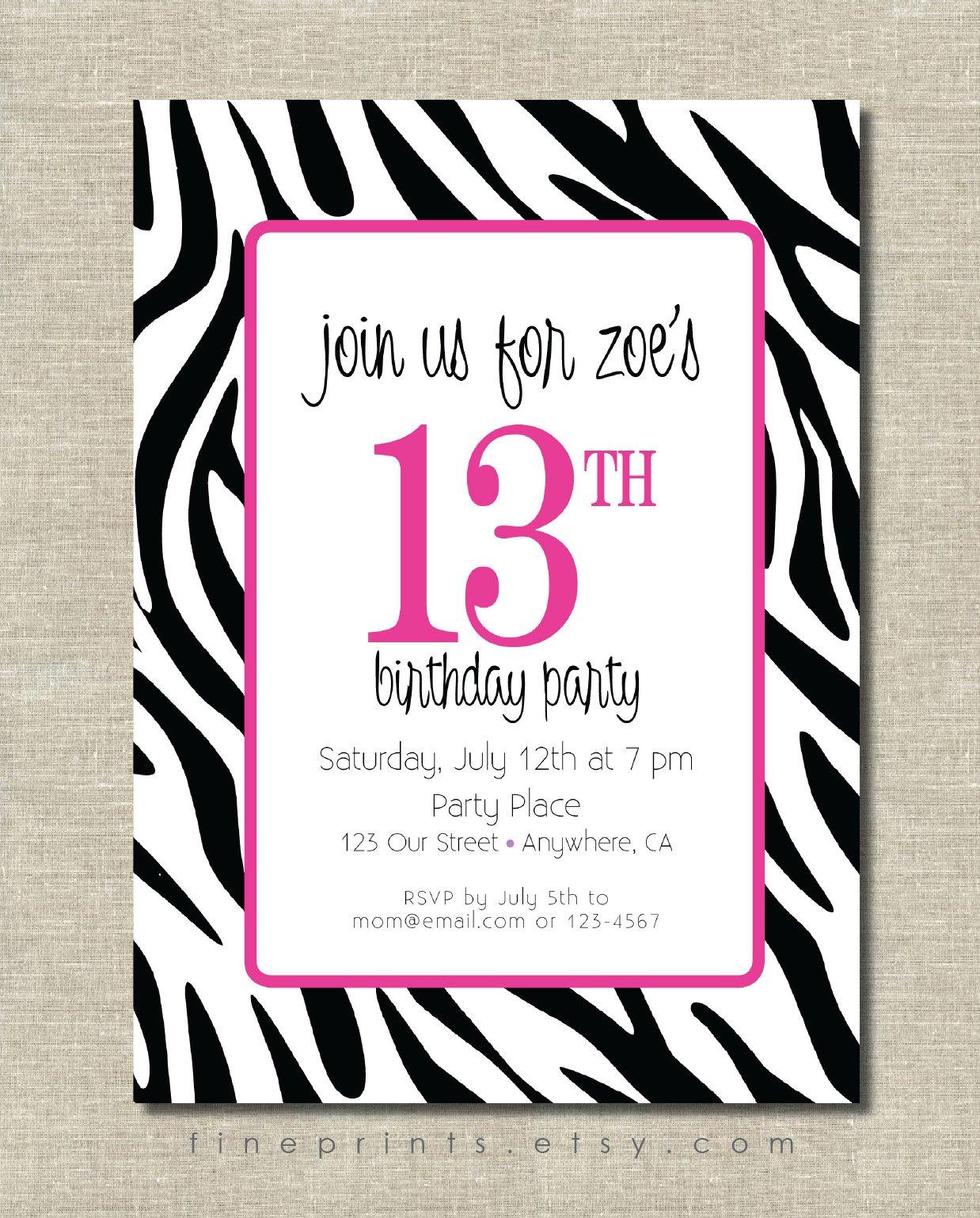 Free Zebra Print Birthday Party Invitations