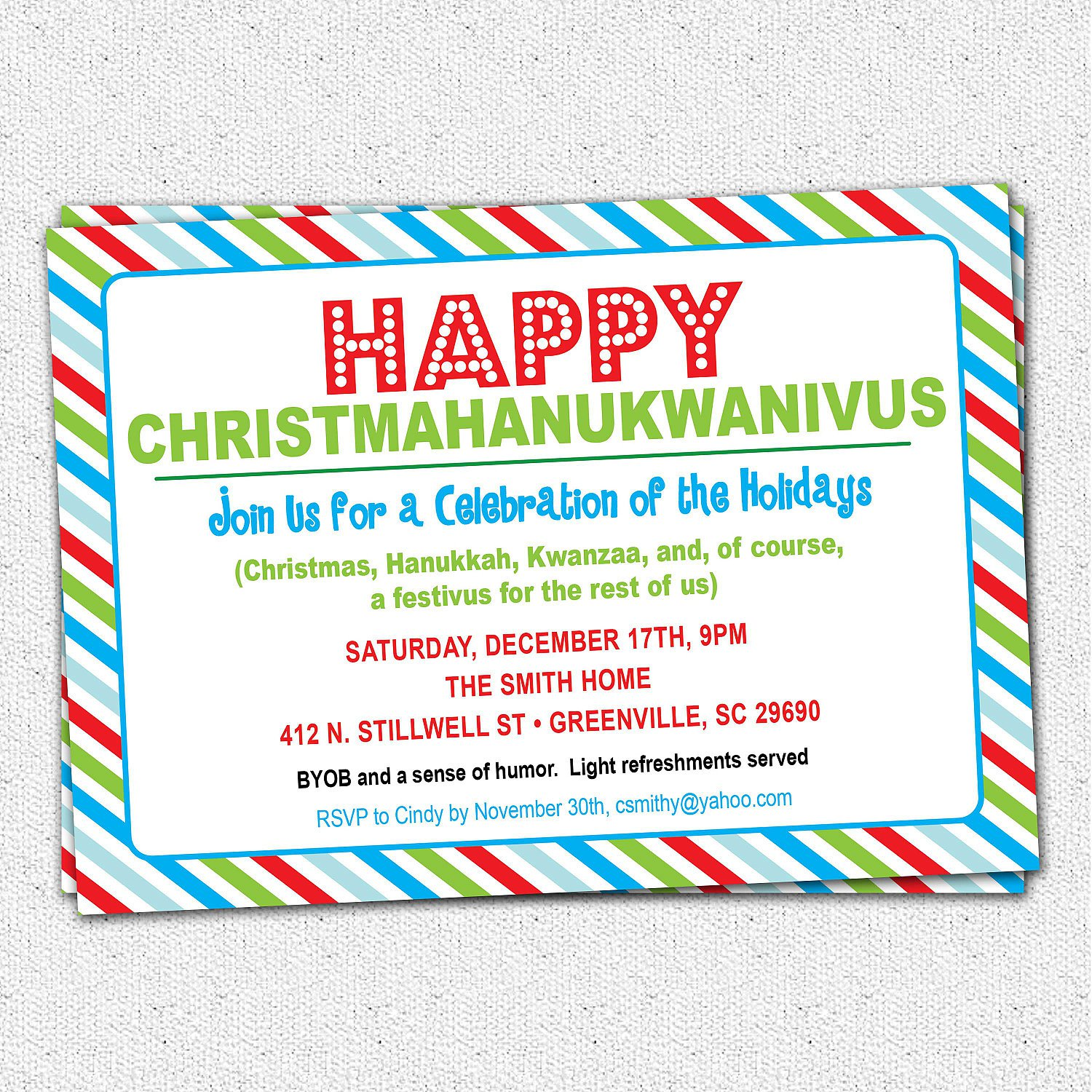 Humorous Holiday Party Invitation Wording