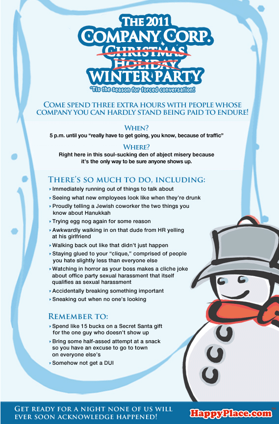 Funny Office Christmas Party Invitation Wording