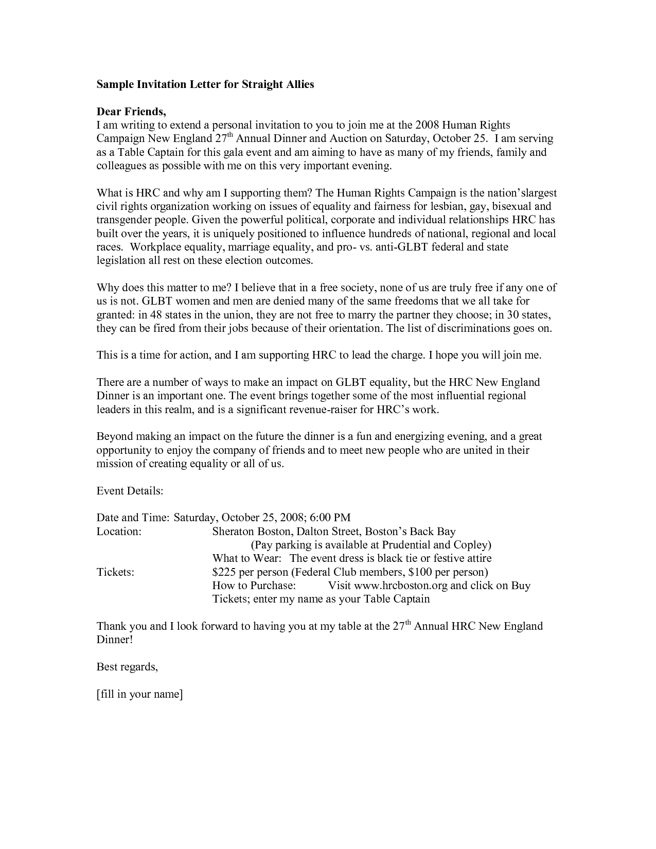 Gala Invitation Letter