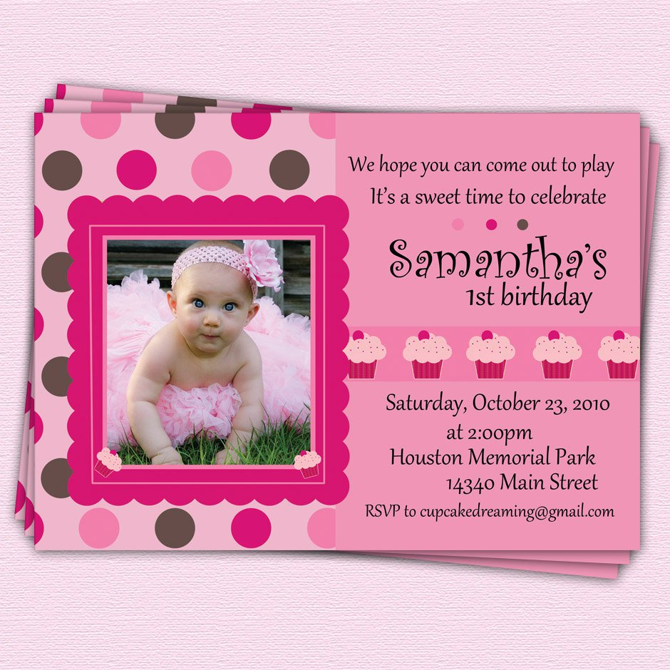 Girl First Birthday Cupcake Invitations