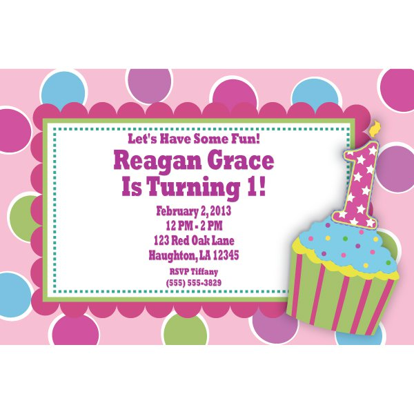 Girls 1st Birthday Cupcake Invitations