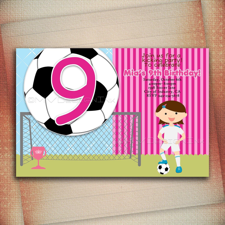 Girls Soccer Birthday Invitations