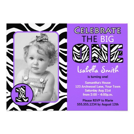 Girls Zebra Print Birthday Invitations