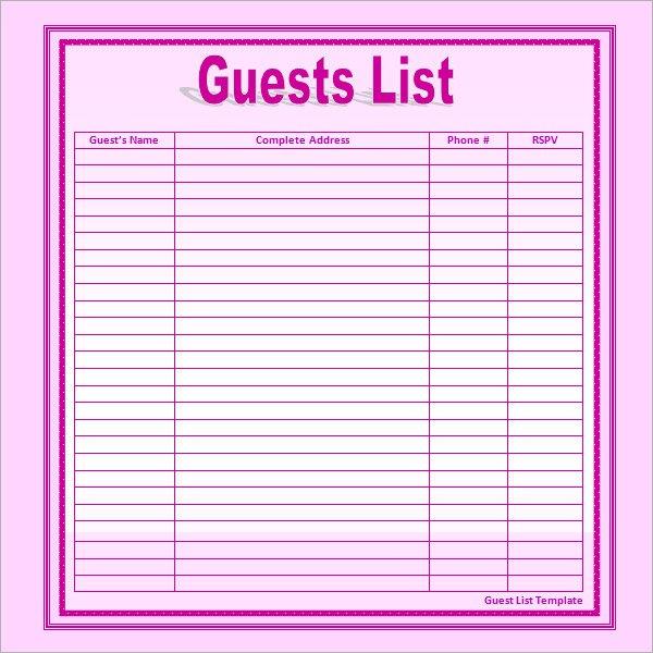 Guest List Print Out