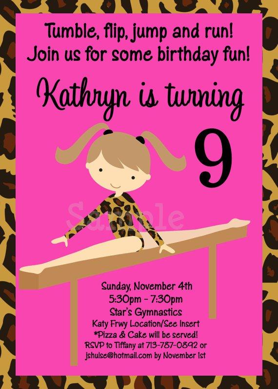 Gymnastics Birthday Invitations Free
