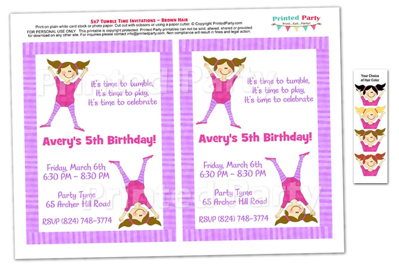Gymnastics Birthday Invitations Printable