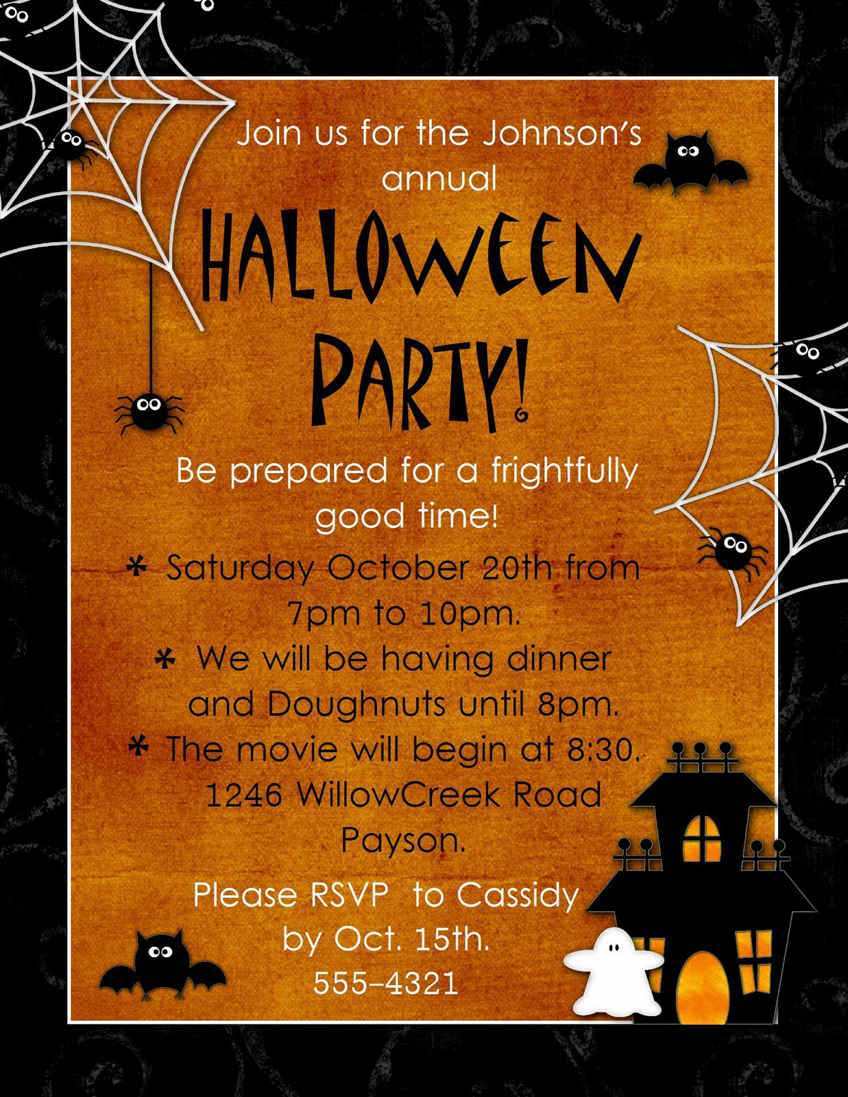 halloween party invitations blank. Black Bedroom Furniture Sets. Home Design Ideas