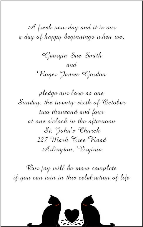 Halloween Wedding Reception Invitation Wording