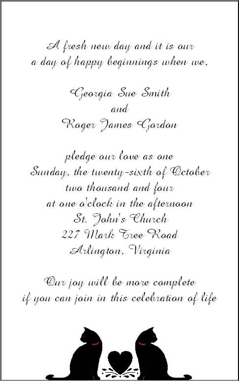 Halloween Wedding Reception Invitation Wording