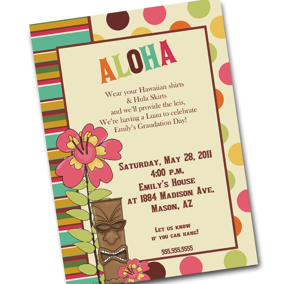 Hand Made Hawaiian Party Invitations