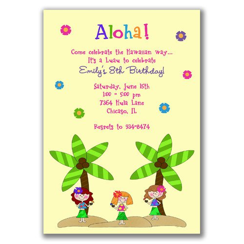 Hawaiian Birthday Party Invitation Wording